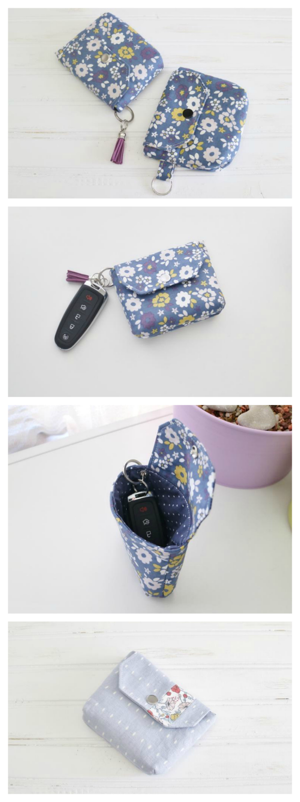 If you want to work on a very simple and quick task then here is a FREE pdf pattern for making a small coin purse called the Flappy Coin Purse. The Flappy Coin Purse with its key ring has been designed to hold those few essentials for the girl on the go. You can slip inside a few cards, coins/bills and maybe your favorite lipstick and it's small enough to fit in a coat pocket. This is a great stash busting project and perfect for a last minute gift.