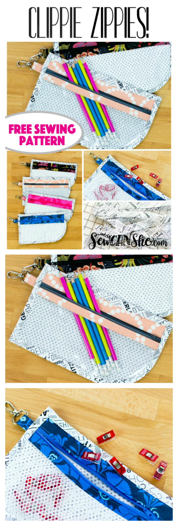 Here is the FREE pattern for the wonderful Zippie Clippie pouch. You can make lots of these pouches and they'll have lots of uses like for example: Clip one on a backpack with pencils and school supplies. Clip another to your bag to hold your phone. Then sew another to hold your hand sewing kit while on road trips.
