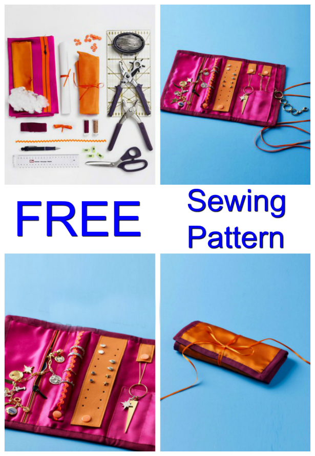 Diy Traveling Jewelry Roll Free Sewing Pattern Sew Modern Bags