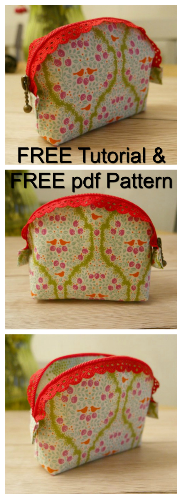 Here are a FREE tutorial and a FREE pdf pattern showing you how to make a little purse featuring a lace zip - The Easy Lace Zip Purse. Lace zips are an awesome idea and they create a real feature on your purse. Even better, if you are one of those sewers who really struggle with normal zippers, then you'll find sewing on a lace zipper much easier. The outer, lining and interfacing are all cut from the same pattern piece. The flat bottom is achieved by sewing boxed corners and the zipper is sewn on last.