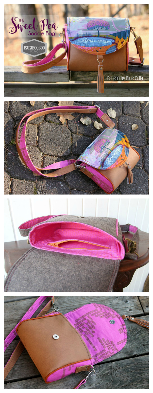 Here's a FREE pdf pattern for an adorable crossbody bag called The Sweet Pea Saddle Bag. The Sweet Pea Saddle Bag is perfect for children or adults who want a smaller sized bag for essentials. It is designed for the beginner sewist as it is an easy sew. The bag has one zippered pocket on the inside and a flap closure with instructions for an optional decorative tassel on the flap.