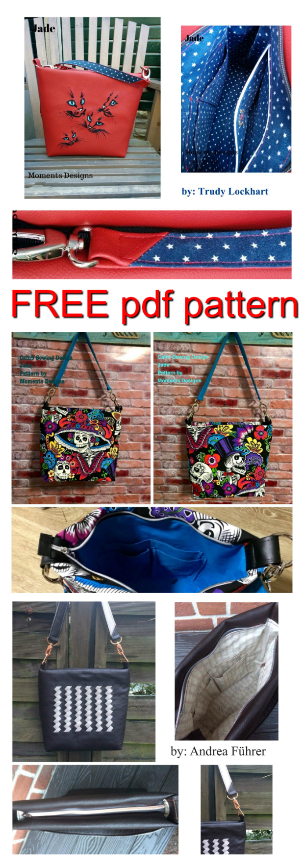 """Here is a FREE pdf pattern to make a medium-sized purse called """"Jade"""". This fast, easy pattern can be made with cotton, denim, decorator fabrics, cork or faux leather. Jade can be completed by a confident beginner to intermediate sewer and she will measure approximately 12"""" wide by 10 1⁄2"""" high by 4 1⁄2"""" deep."""