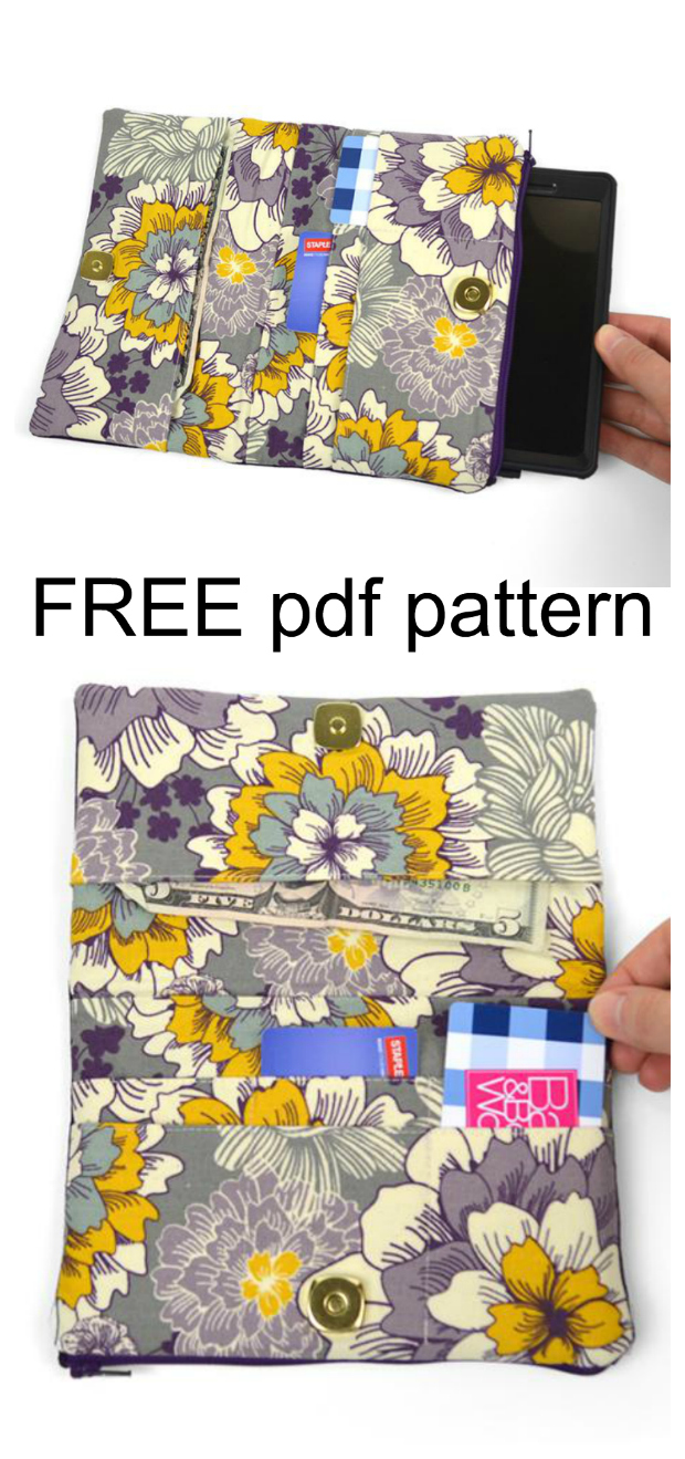 Here we have another FREE pdf pattern, this time for a handy bi-fold wallet. The Kute Kitty Wallet has a bill slot, 6 card slots and a phone pocket. And the big difference between this wallet and the average wallet is the front coin/pencil pocket has cat ears sewn into the edge. The sample shown also has appliqued whiskers to complete the look. It's a cute effect that's both subtle and charming as well.