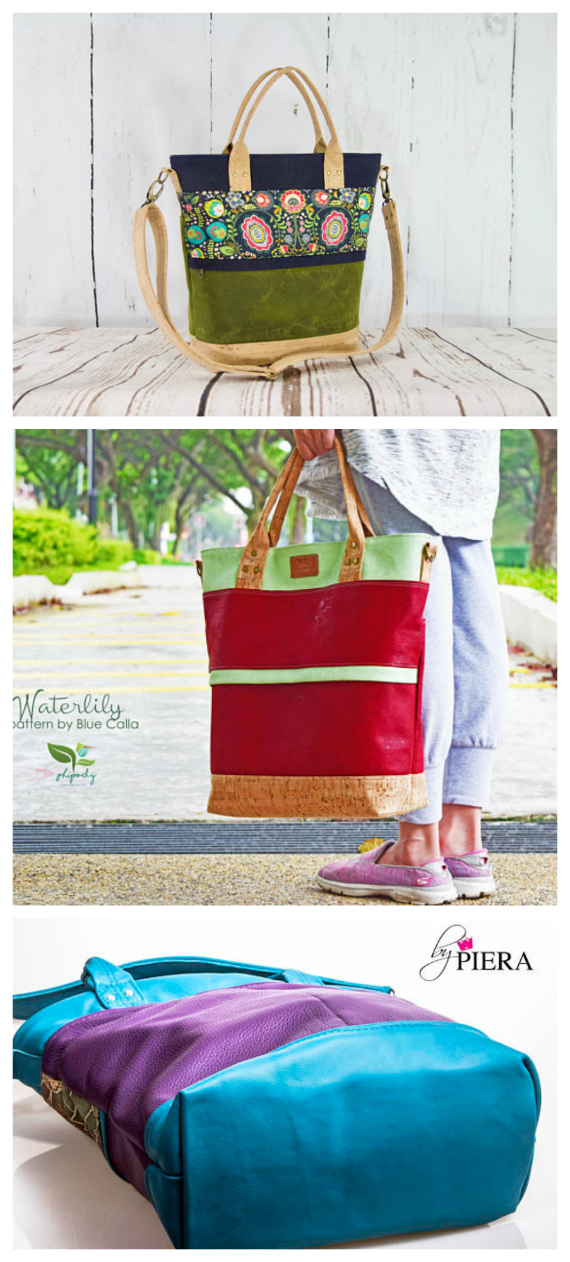 The Waterlily Waxed Canvas Tote sewing pattern - Sew Modern Bags