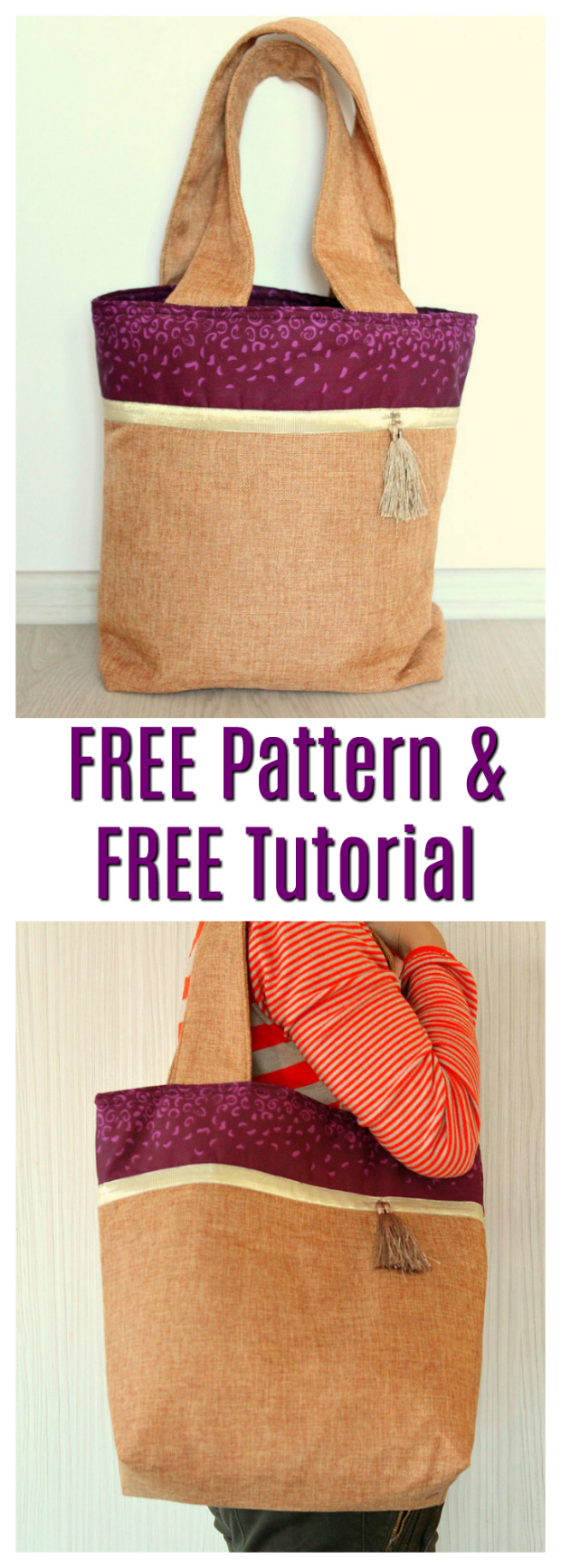 Here's a really great looking two-tone tote bag that is perfect for the beginner sewist. And what's even better is you get the pattern and a tutorial for this medium-large bag completely FREE.