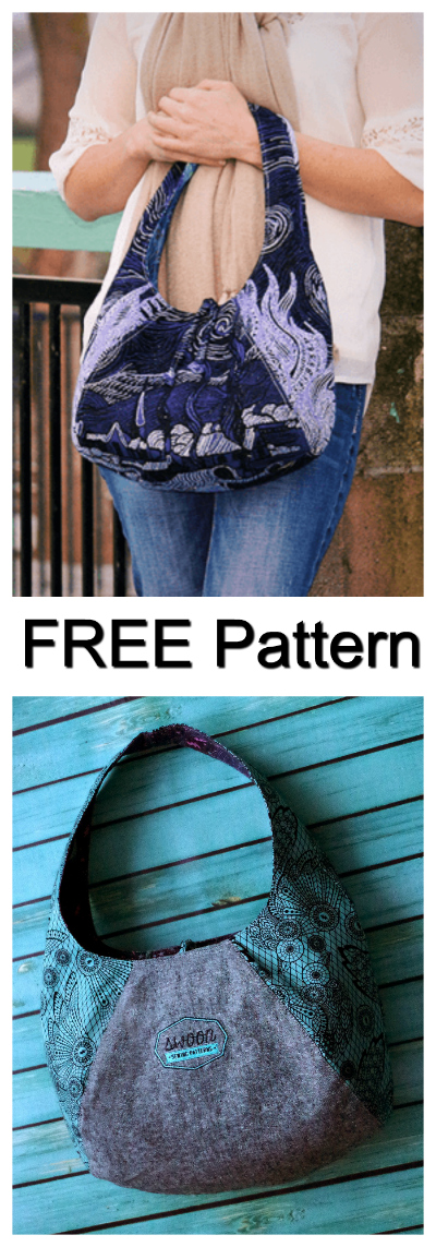 """If you are new to sewing then this is a great place to start. The Laney Reversible Hobo Bag is easy to sew and the pattern is FREE. The finished size of the bag is 15"""" wide by 10"""" tall by 6"""" deep."""