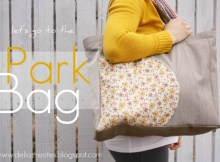 This bag has been specifically designed to carry all your stuff that you need to go to the park. It's big enough to carry snacks, sometimes lunch, a blanket, sunscreen, water etc. It has gathered inside pockets, some with elastic straps, and a surprise circular pocket on the outside just perfect for keys and a cell phone.