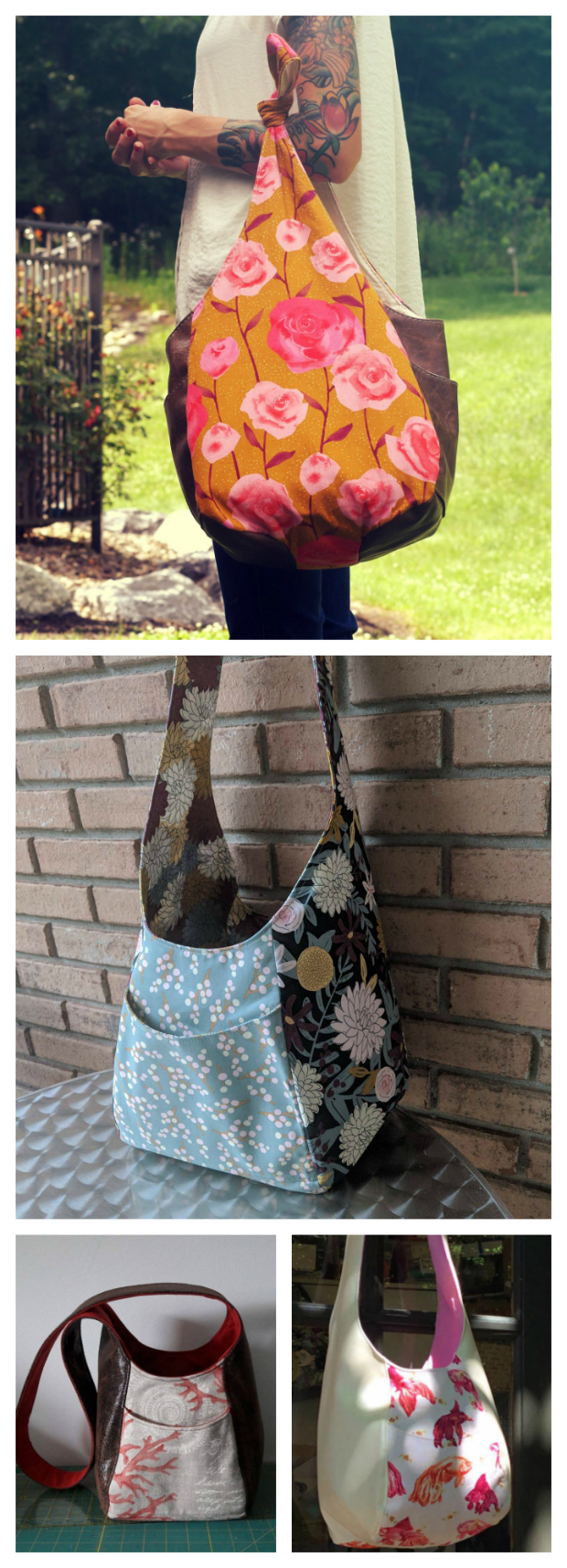 Here is an easy to sew, reversible bag with a casual boho vibe. The Summer Festival Sling Bag comes in two sizes and the pattern is FREE. Summer includes four slip pockets and a long crossbody strap.