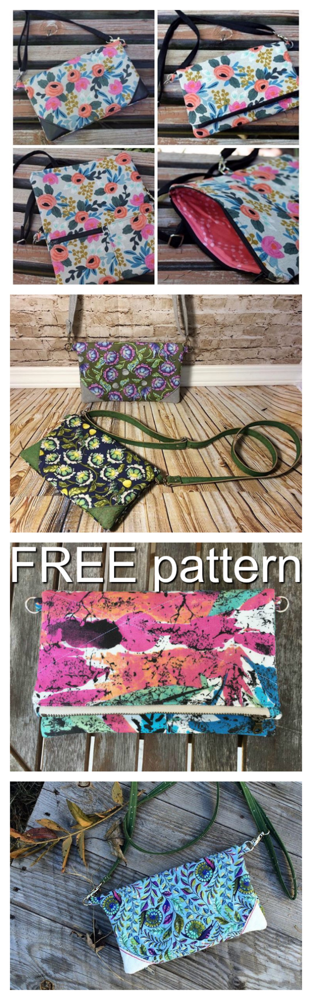 This is a great FREE pattern for a beginner sewer to make. The Gatsby Cross Body Clutch bag has a large top zipper, a smaller exterior zipper and a corner accent to add some flair.