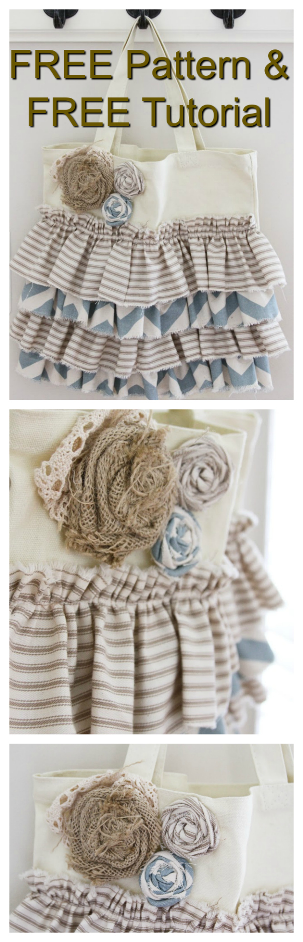 Here's a great FREE pattern and tutorial where you take a basic canvas tote bag and you add ruffles and whatever embellishments you wish to add. It's a relatively easy project to work on and you could make lots of them in a short space of time.