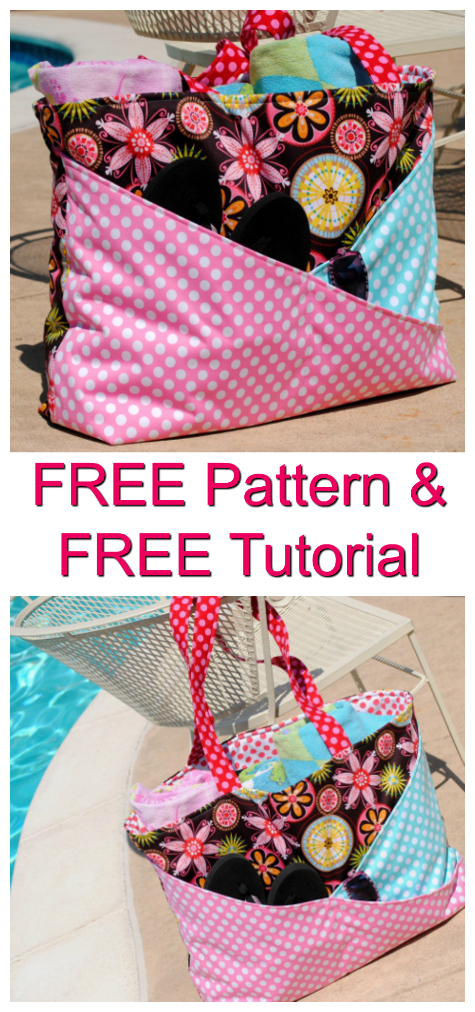 """This bag has been specifically designed to take all your stuff to the pool or beach. The FREE pattern and tutorial makes it a real bonus bag. The Sunny Days bag is 19"""" wide by 16"""" tall by 6"""" deep when it is finished, so it can hold everything you could possibly need when you go to the pool or beach.The criss-cross pockets on the front of the bag allow you to organize those things that you need in a hurry. The outer body and the outside of the pockets are sewn with PUL(polyurethane laminate) so everything inside the bag stays nice and dry."""