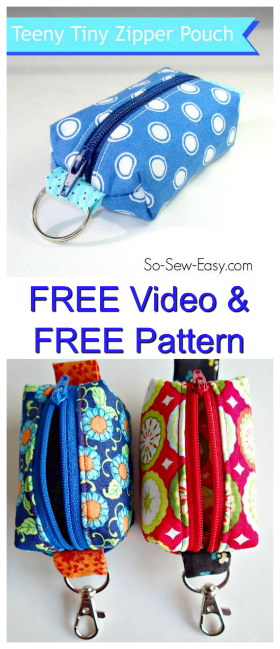 Here is a great FREE pattern & video from an awesome sewing website and designer. You can learn how to sew a cute Teeny Tiny zipper pouch to go on your key ring or clip on your bag. Just enough to carry a lip balm, a little money, etc. Sometimes you don't need a bag. Just something small enough to take a lip balm and a few notes and coins. Just a tiny amount of fabric is used, so it's a great scrap buster project.