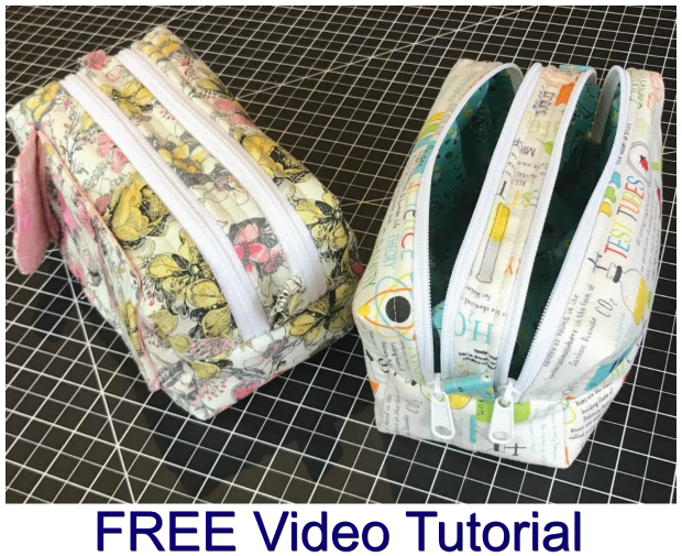 Here's another fantastic video tutorial showing you how to make a Two Zipper travel bag/pencil case/makeup bag. It is a great size to carry many small products and has two zippers for two separate compartments. This bag can be made using the dimensions given or you can change the size and use it for whatever you'd like!