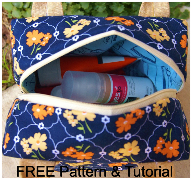 "The Ellie Travel Case comes with a FREE pattern and a FREE tutorial. This case makes a perfect cosmetics or toiletries bag and doubles as a cute little purse for a night out.  The final size of this bag is 7.5"" square, but because it's also 4.5"" deep, it can hold a ton of stuff."