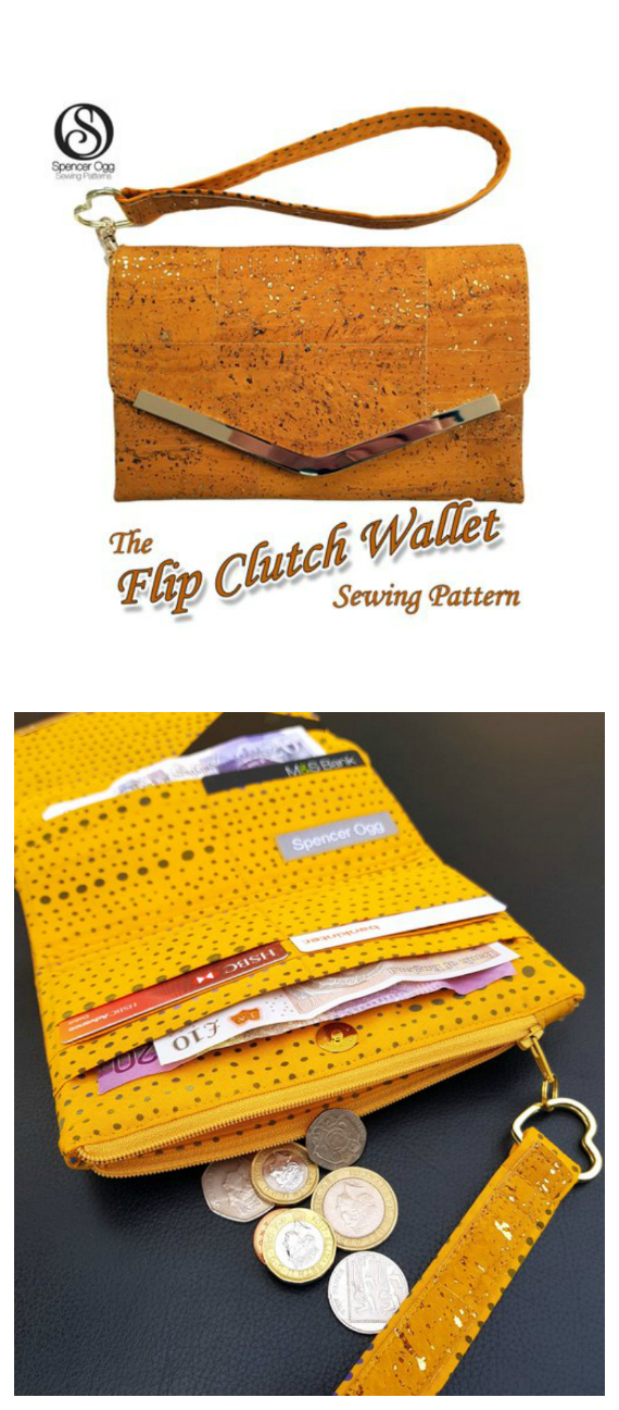 Here's a pattern for you to create a beautiful spacious ladies wallet and phone case, The Flip Clutch Wallet. Brilliantly designed, this purse is the perfect accessory for carrying all your essentials: coins, cards, notes. It even has a handy compartment for your phone. A functional and firm wallet with a convenient wrist strap option.