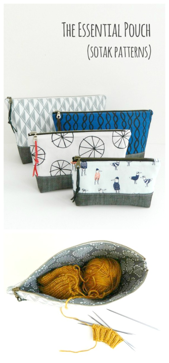 This pouch, the Essential Pouch is a great project for a beginner sewer. The designer has been very flexible giving instructions on how to make the Essential Pouch in four different sizes.