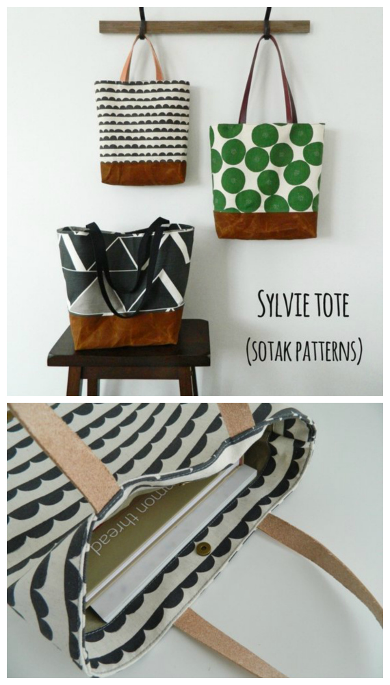 We like this bag designer here at Sew Modern Bags very much. She doesn't have too many bag patterns for sale, but the ones she has are pure quality. Here you can create your own beautiful fully lined everyday tote bag, called Sylvie, and Sylvie comes in THREE sizes.