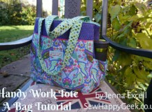 """This sewer and pattern designer used to write occasionalpatterns for the Sewing World Magazine, so you can be assured her FREE pattern and tutorial to make the """"Take It To Work Tote Bag"""" will be one of the best. This is, at heart, a simple tote bag made even more functional by special pockets for the items you carry around your busy life."""
