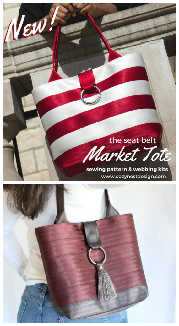 The Seatbelt Market Tote sewing pattern will take you step-by-step to create a customized bag made of seat belt webbing. Great kits are available on the designers' site. Seat belt webbing is shimmery and luxurious, yet extremely durable and easy to clean and sew, even on a home sewing machine.