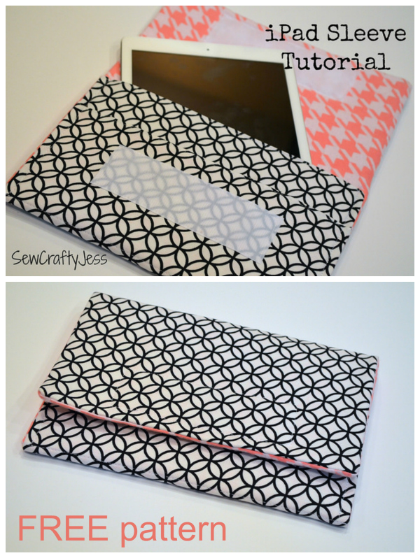 "If you have an iPad Air, or any tablet measuring approximately 10"" by 7"", then here's an awesome FREE pattern to make a padded cover for it. It's a very quick and easy project that will give your expensive iPad some extra protection. This sleeve is designed to fit any tablet measuring approximately 10"" by 7"", and approximately 1/2"" thick."