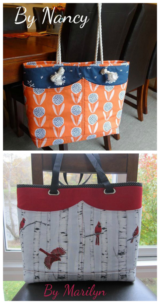 Abby's Alley Tote Bag is a super quick and easy project you can make in just a couple of hours. You will be whipping them up by the dozens for yourself and as gifts or to sell. This stylish bag has four outside pockets together with four interior pockets to keep you organised. Abby is perfect for the beach with some rope handles or dressher up with a pair of stylish leather handles to go out on the town.