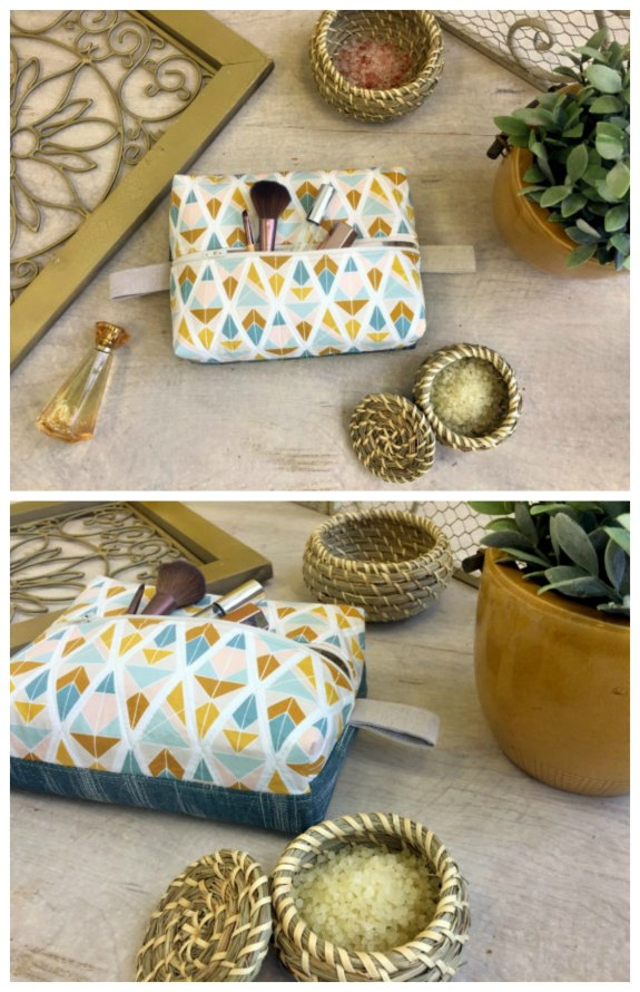 """As the designer for this pouch says """"Everyone needs a great travel pouch to fit all their travel essentials"""". And the pattern and tutorial for this project are100% FREE. The Boxy Travel Pouch is cute and very easy to make. You can have a rummage around in your fabric scraps to find some of your favorite fat quarters to make the perfect pouch."""