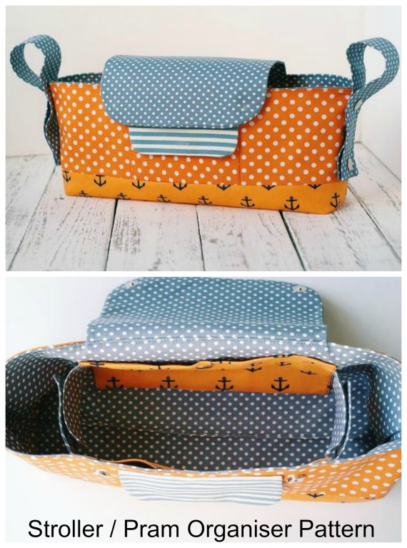 Here's an ingenious way to bring organisation to a Stroller / Pram. The Unique Stroller Organizer has a magnetic snap flap and an outside pocket. On the inside, there are three compartments - the main compartment under the flap and two lateral drink holders for mummy's beverages and baby's bottles. The organizer's handles can also be fixed in 3 positions.