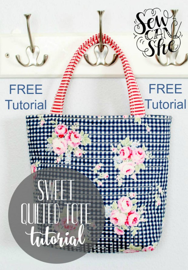 We have only recently found this excellent designer of bags here at Sew Modern Bags. Caroline produces superb patterns and tutorials and her enthusiasm for everything sewing comes through in her wonderful projects. Here she has produced a FREE tutorial for her Sweet Quilted Tote Bag.