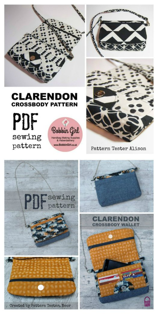 The Clarendon Crossbody Wallet is one of this designers Etsy bestseller patterns. It's a small bag with many compartments and has many wonderful features, as follows: A zipper pocket on the flap, An optional ID pocket, A concealed zipper beneath the flap, With eight card pockets and a slip pocket, this wallet keeps your credit cards and money handy, It's lined to hold the larger items a wallet alone cannot, with an additional slip pocket inside, An adjustable strap to ensure the bag fits you exactly.