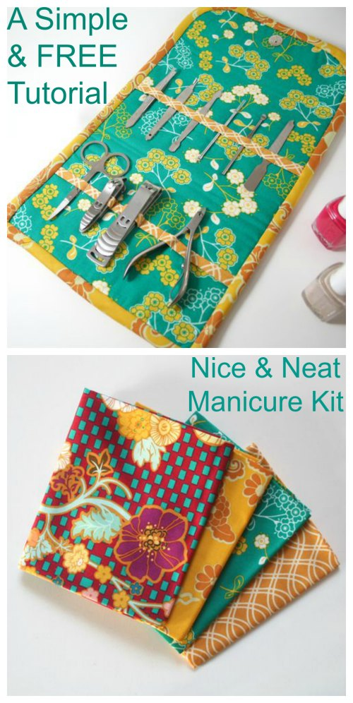 We love FREE patterns here at Sew Modern Bags and we like to share a number of them with you each week. This one is a super simple and easy tutorial for a manicure kit. You can make one for yourself or you can make some as beautiful gifts for a friend or loved one. The design is pretty basic so it is ideal for a beginner sewer who wants an easy and quick project.