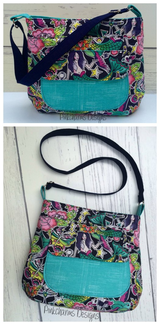 This excellent designer has listened to her customers over the years and given them exactly what they desire. They've told her that they really preferred an outside pocket with a closure on the outside of their purses. So here is the pattern for her medium sized Thistle Pocket Tote Cross Body Bag, which has a perfect sized outside pocket with a flap and a magnetic closure. This bag is big enough to hold your phone and keys and comes with instructions to make an adjustable crossbody strap.
