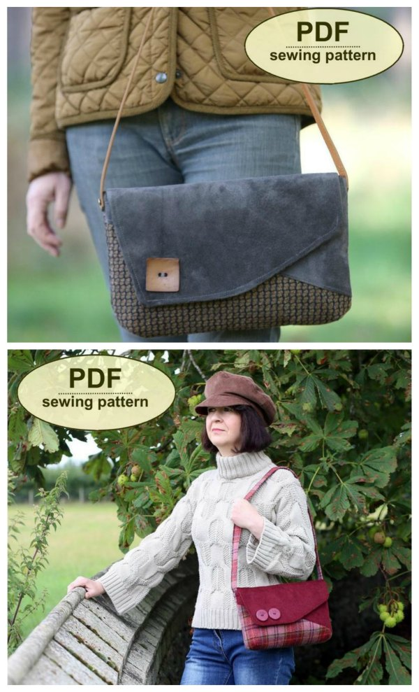 This is a digital sewing pattern for The Blickling Bag. This two toned bag is practically sized, has simple asymmetrical styling, is made with darted corners and has a template and instructions for an interior patch pocket if required. It can be fashioned with a self-fabric or by attaching a purchased strap.