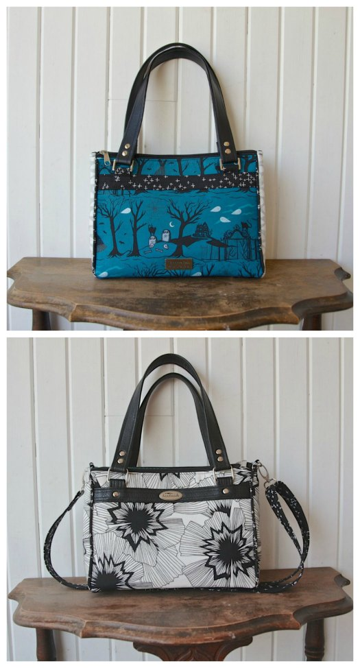 The Dandelion Double Zip Handbag is a smaller sized bag with 2 main zippered compartments, 1 large open compartment in the middle that closes with a magnetic snap, 2 shorter straps and the option to make a cross body strap and in the main compartment, the designer has also included instructions for four slip pockets. Get the digital pattern here.