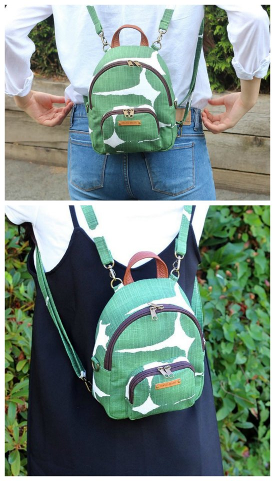 We don't feature too many backpacks here on Sew Modern Bags but here we think we have found a little gem for you. It's from a prolific designer of bags and its both a mini backpack and a cross body bag. The Magali is one of this designers Etsy bestsellers, so it's a popular choice that is both stylish and practical.