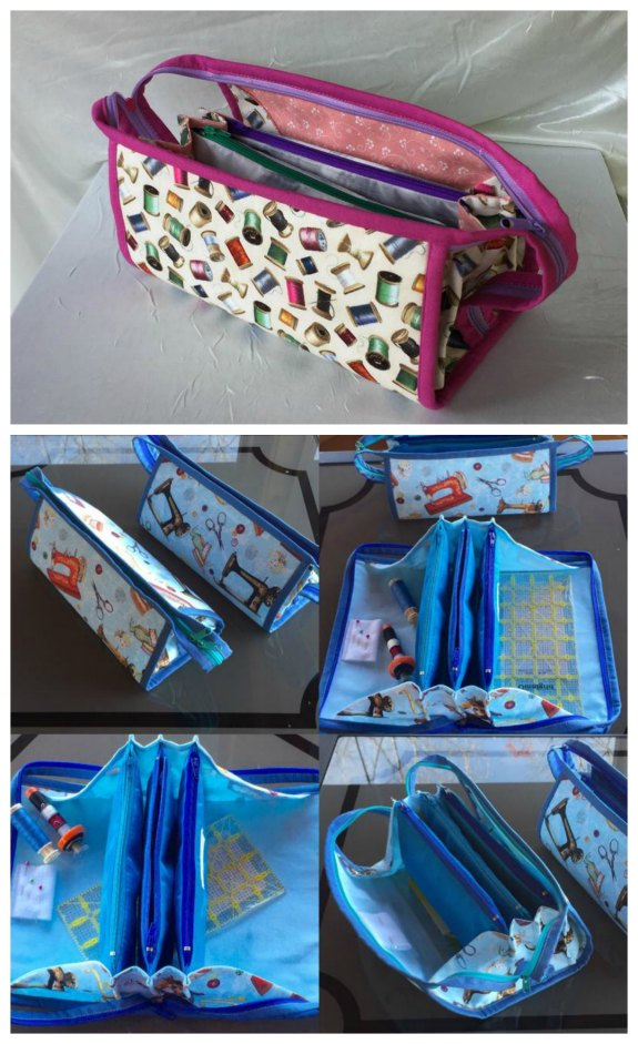 Here's your chance to make a multi-compartment fold out zipper storage bag. This very neat small sewing bag has three zippered pockets and a long top zipper with double pullers.