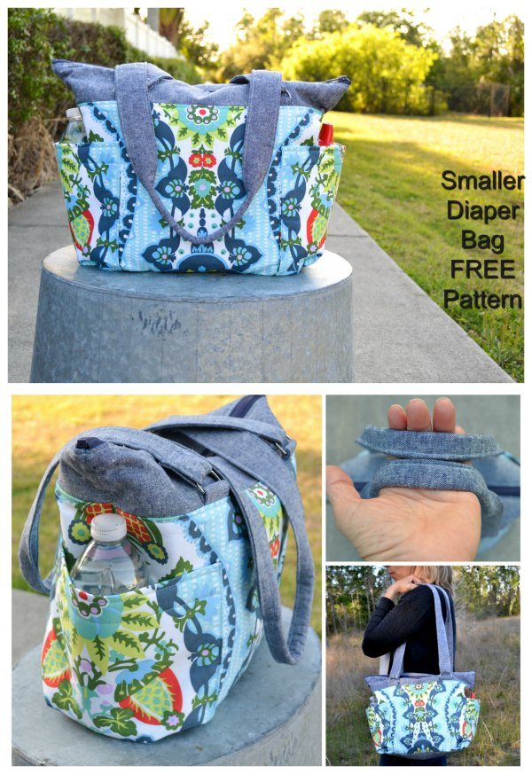 Here's a FREE sewing pattern for a smaller diaper bag, with following features - It still has plenty of pockets - It has a wide base so it stands up easily in the car - It's smaller but can still fit a handful of diapers, toys, snacks, and drinks for a day in the park - It has an easy to zip and easy to sew sport separating zipper - It has handles that are long enough to throw over your shoulder one-handed.