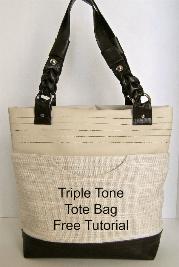 This is the Triple Tone Tote Bag and the very talented designer has produced a free tutorial to help us all make one. I'm sure you will agree with us when we say this is one of the finest tote bags that we have ever shared with you on Sew Modern Bags, and we have shared a lot, over 125 tote bags so far.