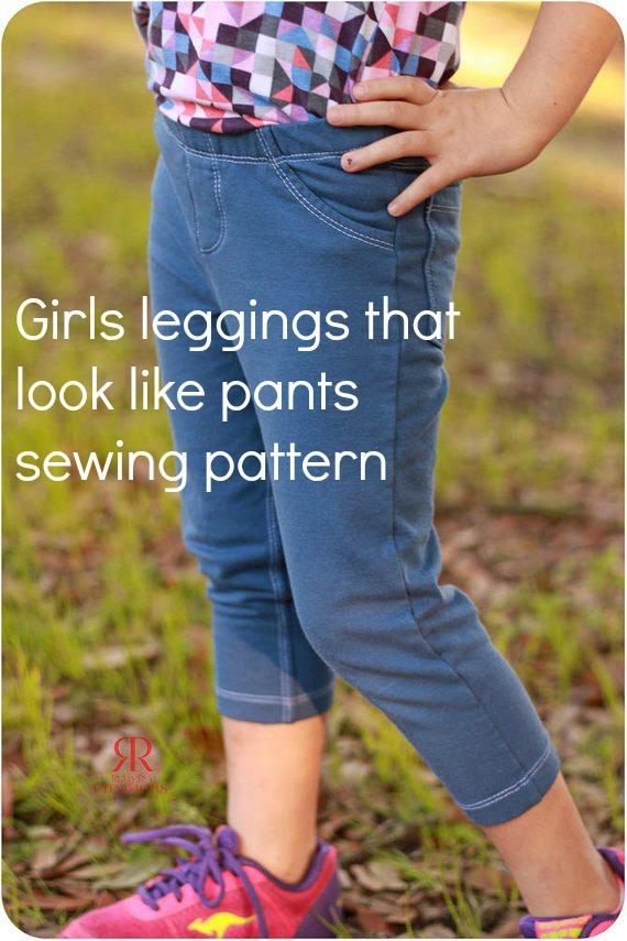 girls leggings sewing pattern, jeggings, jeans