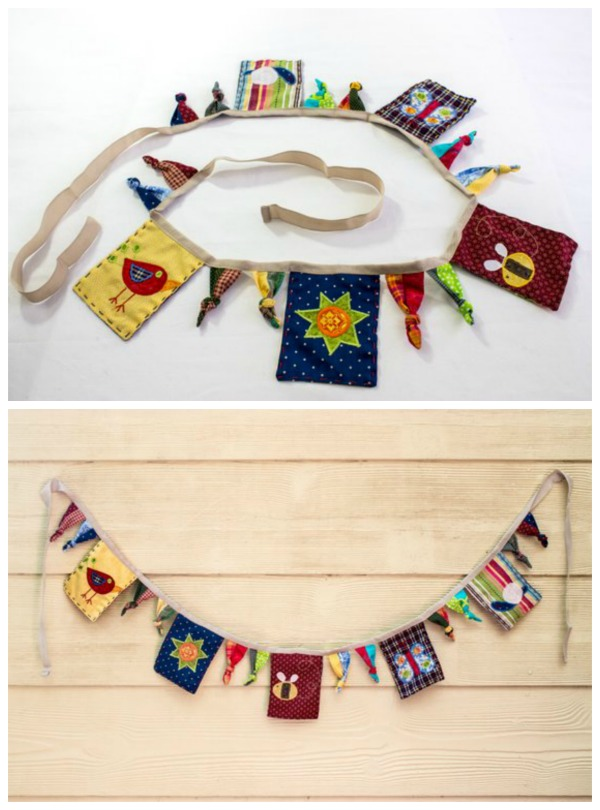 Bunting always looks nice in a nursery, however, if you add appliques then the bunting is transformed into something beautiful. The pattern for this bunting is a little bit different. The designer went for a playful country look, also trying to do something that appeals to both genders. The bunting has two kinds of flags, square ones with appliques and some knotted ties in between.