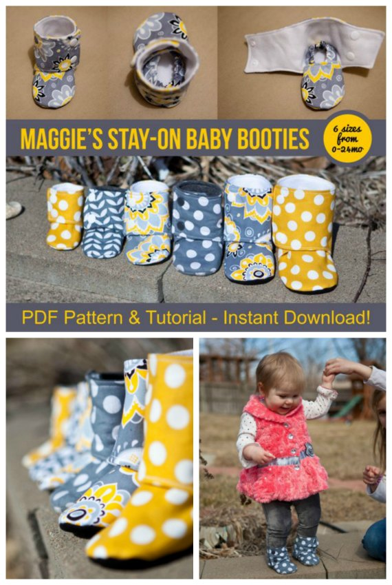 "This designer has designed an awesome boot for a baby that stays on. Your baby won't be able to just yank them off. The Maggie's Stay-On Baby Booties are super cute booties and the pattern comes in sizes from 0-24 months, with finished soles ranging from 3.5"" to 6""."