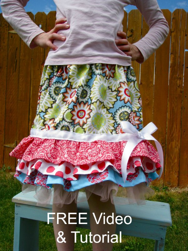 Here are a FREE tutorial and video for you to sew a Ruffly Rhumba Skirt. A skirt every little girl would love to have. This skirt gives you a great way of using up some of your fabric stash.