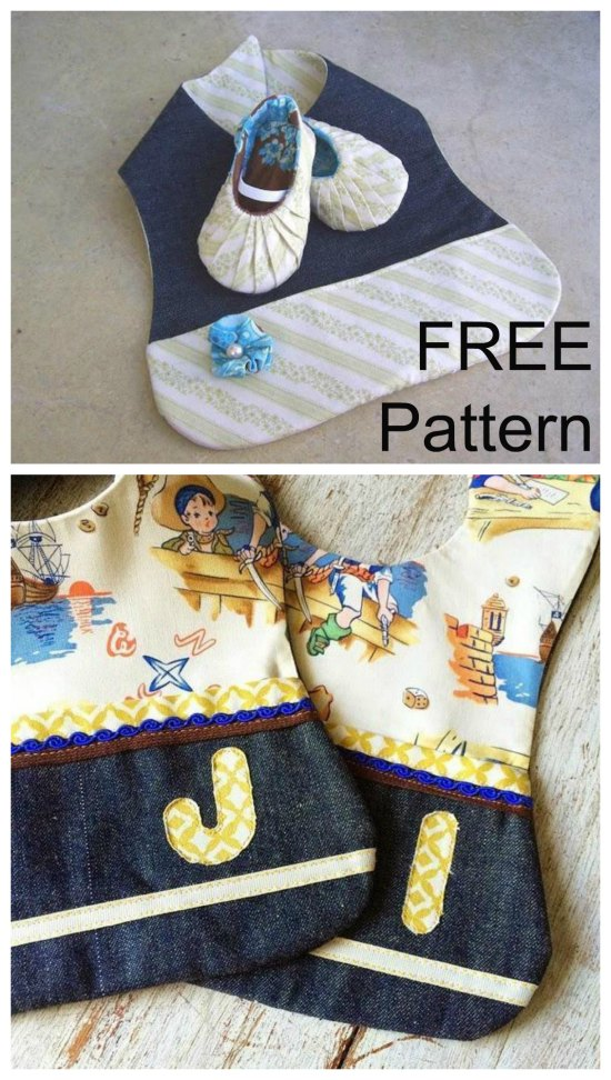Here you get two FREE patterns from this designer. You get her Baby Bib With Pocket pattern as well as a pattern to make baby some shoes.