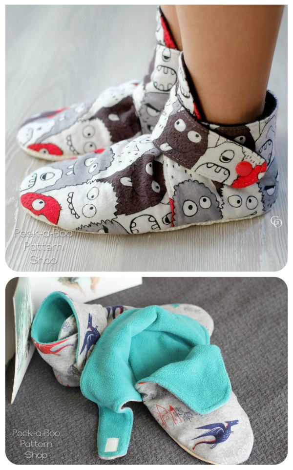 """Aren't these booties just the cutest? You can keep everyone's feet cozy with a pair of Blitzen Booties. This project is perfect for a beginner sewer as it's a quick and easy sew. The Blitzen Booties can be made from your choice of cozy knit or woven fabric on the exterior and a variety of cozy fabrics for the lining including fleece, minky and fur. The Blitzen Booties are fully lined and fasten with a snap or Velcro and come in 16 different sizes to fit feet that are 3"""" to 11.5"""" long."""