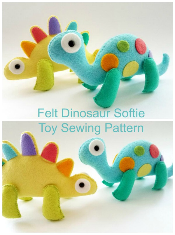 Dinosaur Sewing Pattern : dinosaur, sewing, pattern, Dinosaur, Softie, Sewing, Pattern, Modern