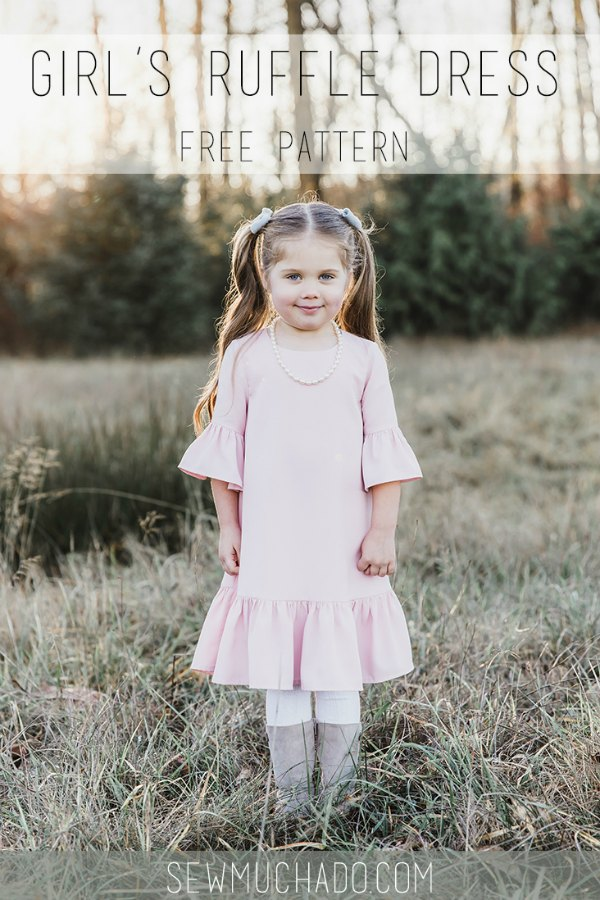 Here's a great FREE Girl's Ruffle Dress digital pattern and tutorial. This talented designer made this blush pink dress for her daughter with blush pink crepe. This A-line shaped dress helps give it some twirl factor and the ruffles on the sleeves and hem are the perfect detail added to the simple shape.