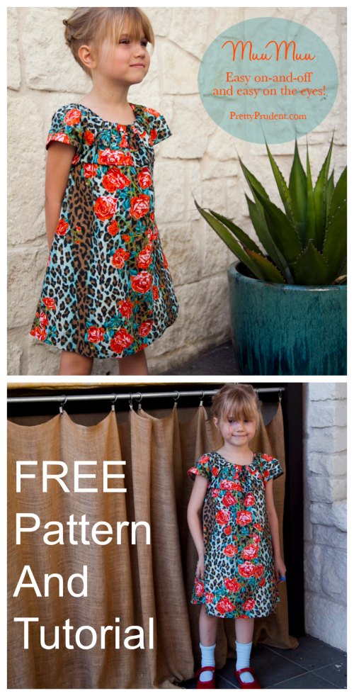 With the choice of fabric, this girls dress is one of the prettiest we have ever seen here at Sew Modern Bags. This designer as a bonus to everyone has even produced a tutorial and pattern that is FREE. The designer has named this dress the Easy Summer Muumuu House Dress, where the muumuu or mu'umu'u is a loose dress of Hawaiian origin that hangs from the shoulder. It's a very much easy on and easy off dress which has no buttons or ties.