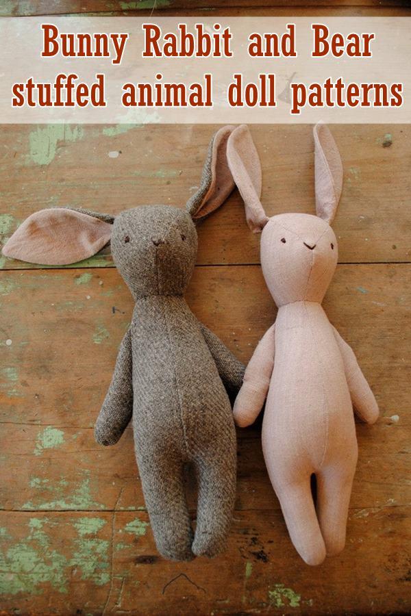 Stuffed Bunny Pattern : stuffed, bunny, pattern, Bunny, Rabbit, Stuffed, Animal, Sewing, Patterns, Modern