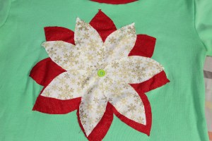 Christmas Shirt Poinsettia Button
