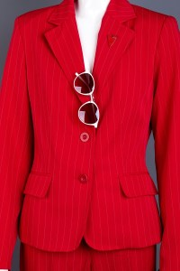 Close up red women blazer with sunglasses.