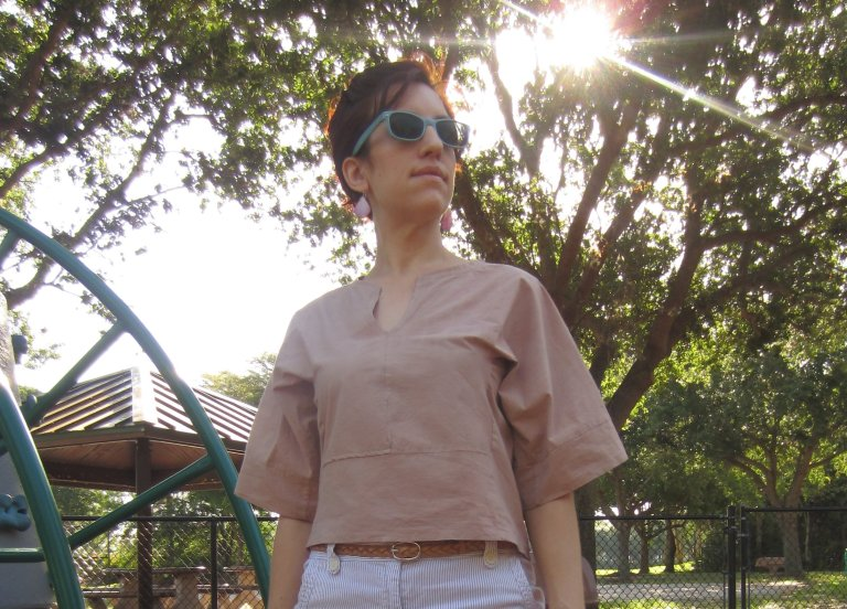 Burda Blouse dyed with Quebracho Rojo.